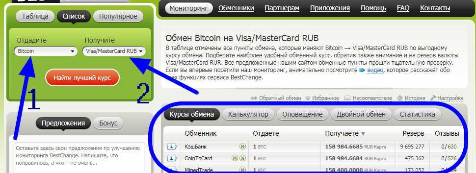 На обменниках продаются биткоины за рубли с маленькой комиссией