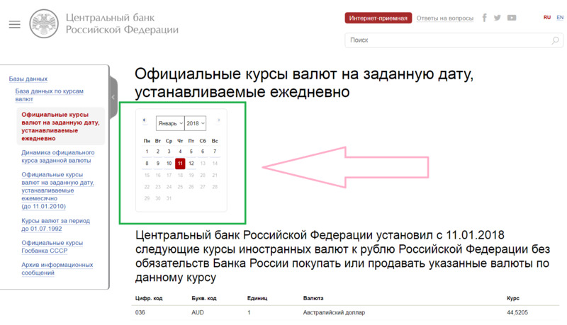 Календарь для просмотра курса рубля на сайте ЦБ РФ