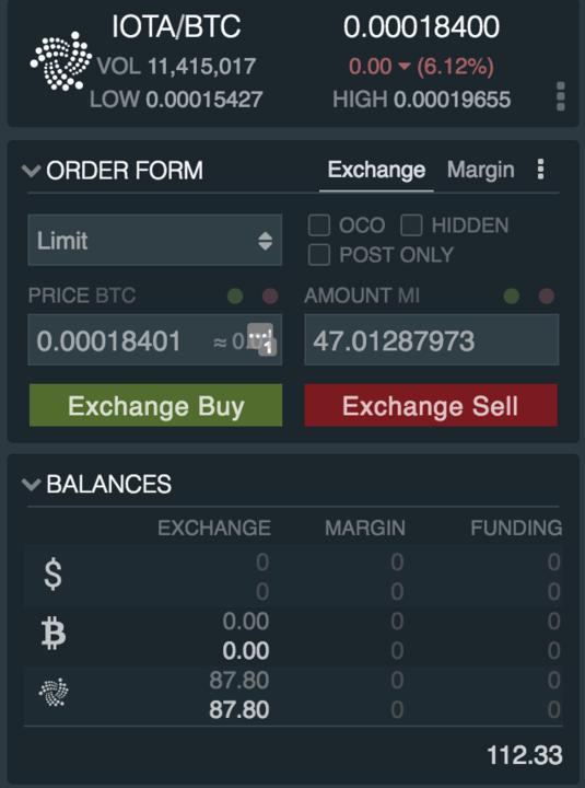 Ордер на покупку йота на бирже
