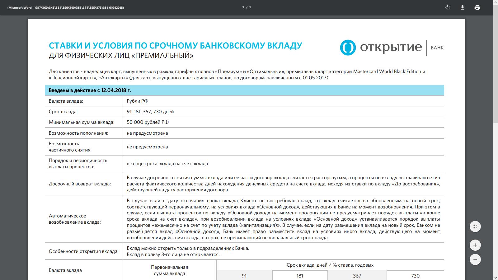 Тарифы банка Открытия по вкладу для физических лиц «Премиальный»: